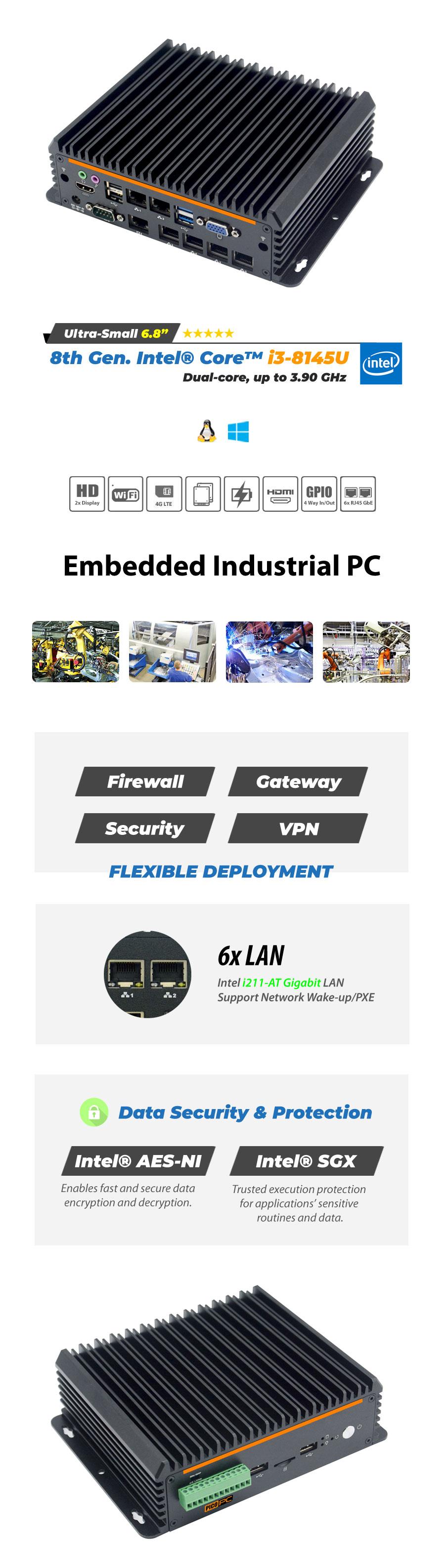 7th Gen Intel® i7-7700T 2 LAN ASRock HD Slim Fanless Mini PC - MNHO-086 | Image