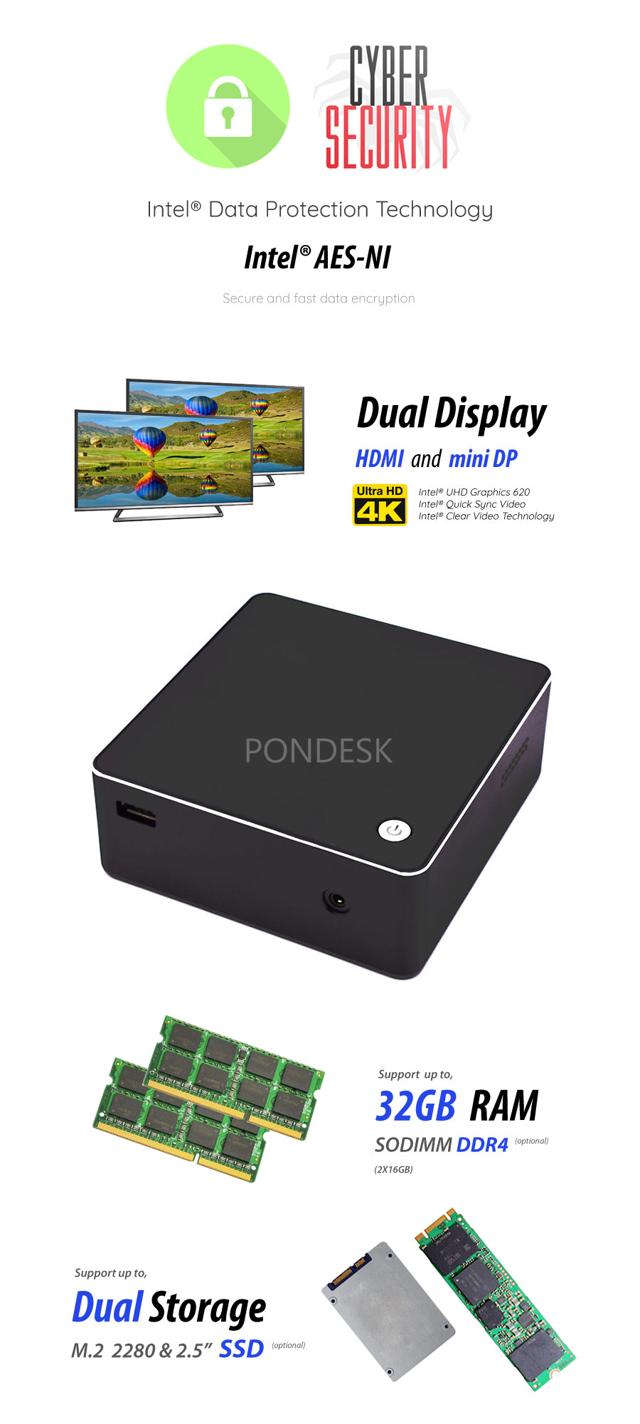 8th Gen Intel® Core™ i7-8550U 4 Core HD Dual Display Mini PC - MNHO-087 | Image