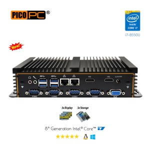 8th Gen Intel i7-8550U 6 COM 3 Display Fanless Industrial PC-MNHO-088