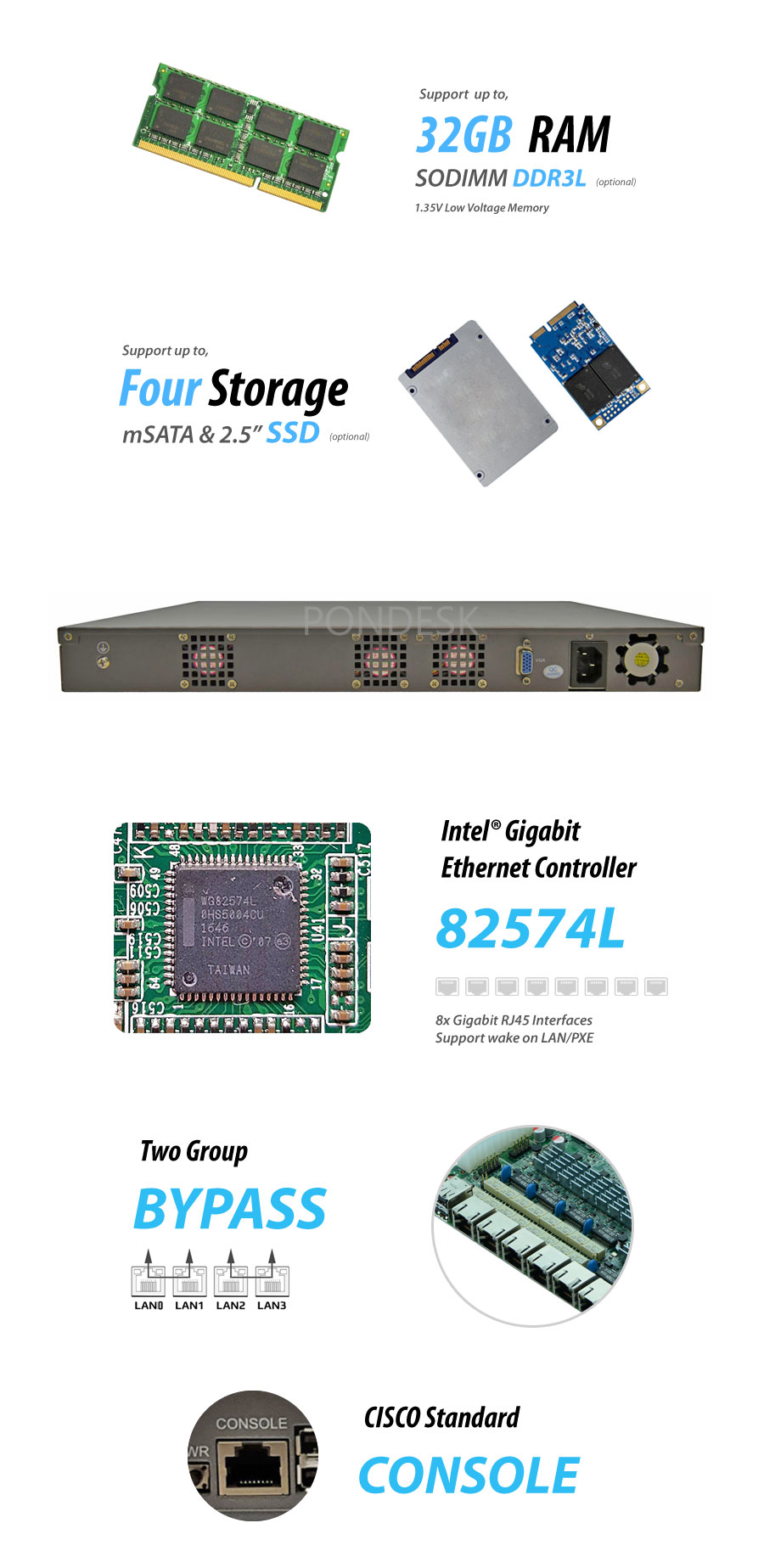 8 LAN 10Gig Fiber SFP+ 4G NGFW Firewall 1U Rackmount Server - NSHO-001 | Image