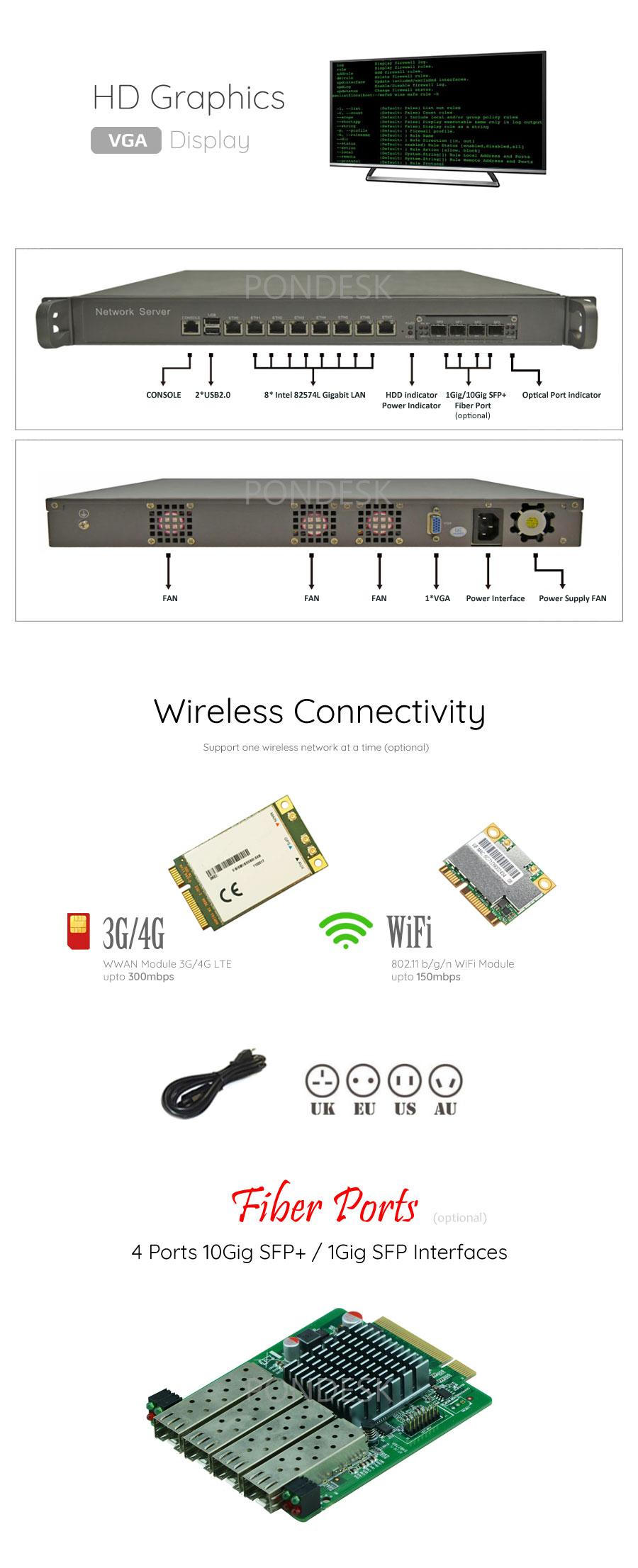 8 LAN 1 COM 4 Fiber SFP 4G NGFW Firewall 1U Rackmount Server - NSHO-001 | Image