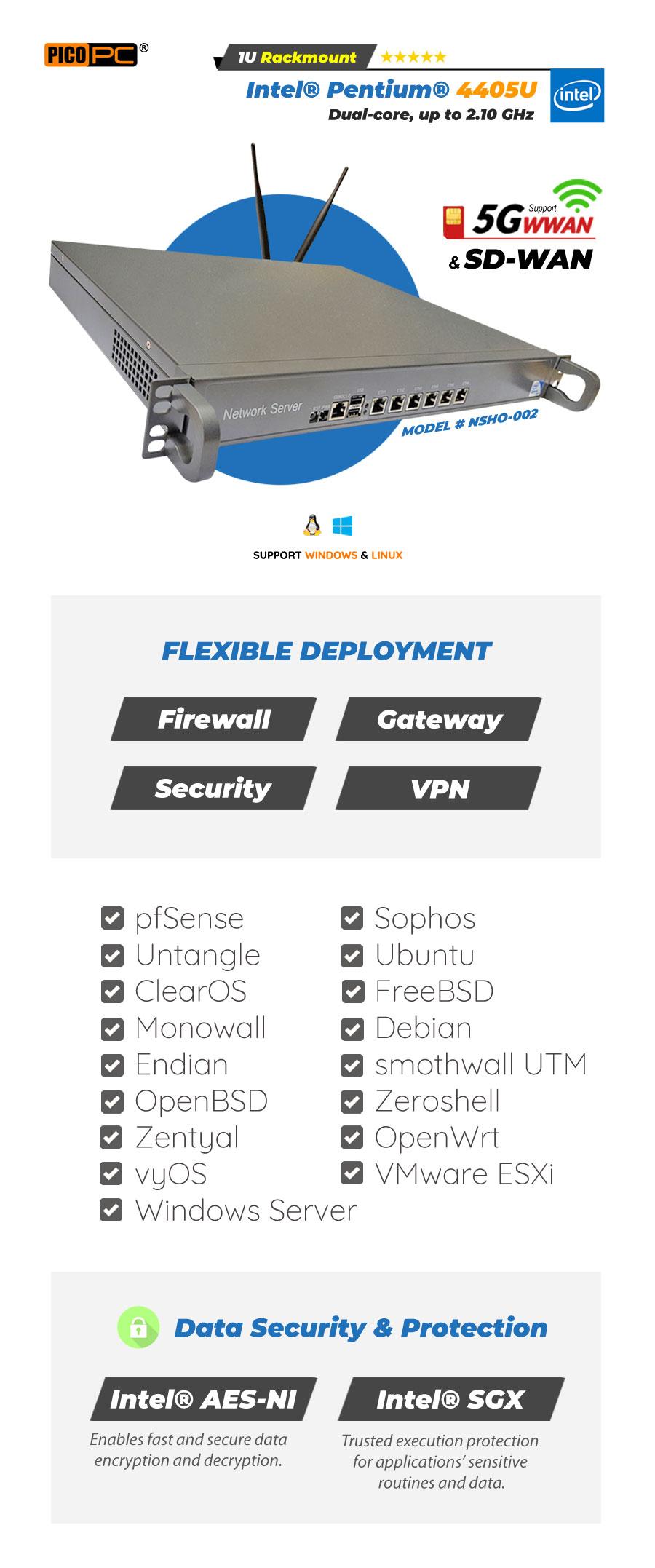 Intel 3855U 6 LAN 1 COM WiFi 4G Firewall 1U Rackmount Server - NSHO-002 | Image