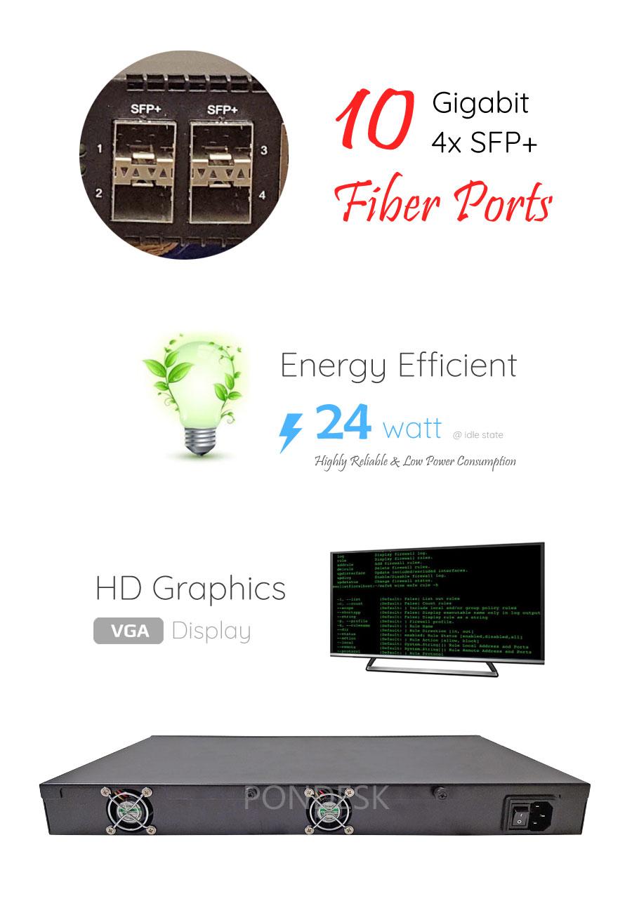 Intel Atom C3758 8 Core 6 LAN 10Gig SFP+ 1U Rackmount Server - NSHO-004 | Image