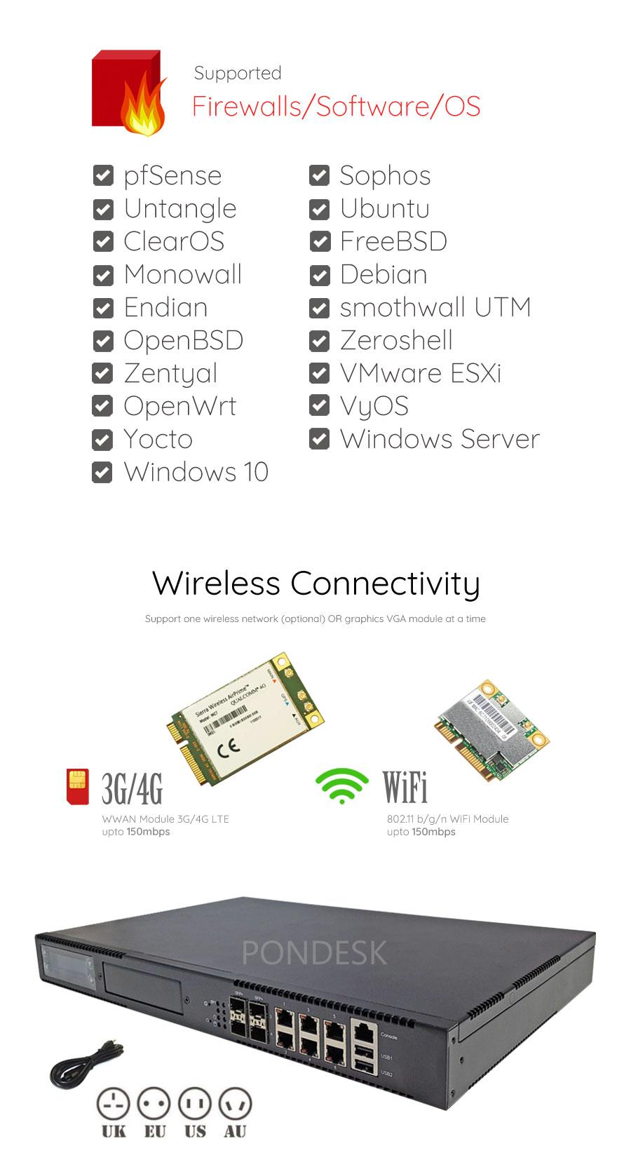 Intel Atom C3758 8 Core 6 LAN 10Gig SFP+ 1U Rackmount Server - NSHO-004   Image