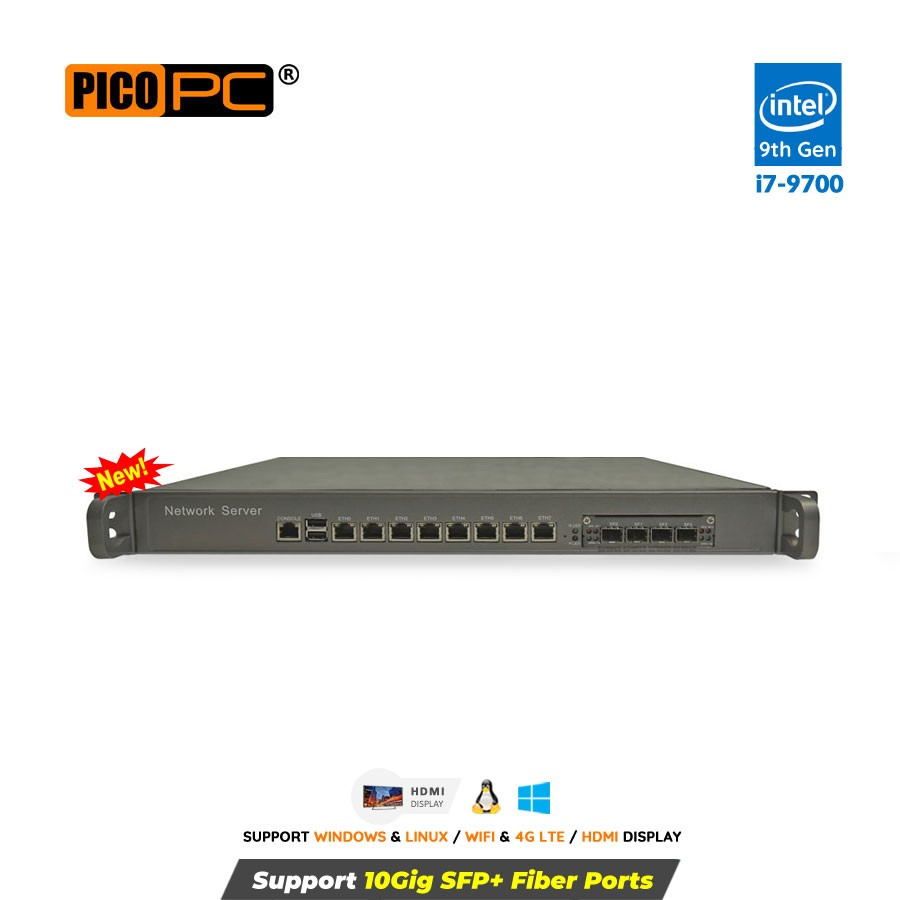 Intel® Core™ i7-9700 8 LAN 10Gig SFP+ 4G 1U Rackmount Server