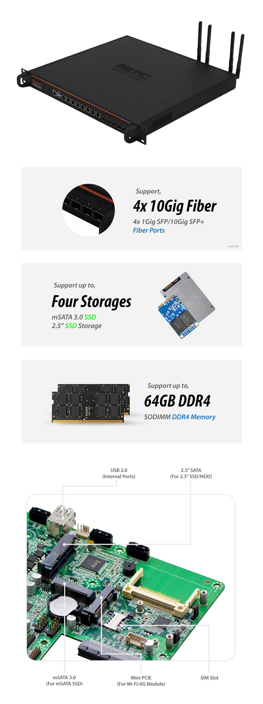 Intel® Core™ i7-9700 8 LAN 10Gig SFP+ 4G 1U Rackmount Server - NSHO-005 | Image