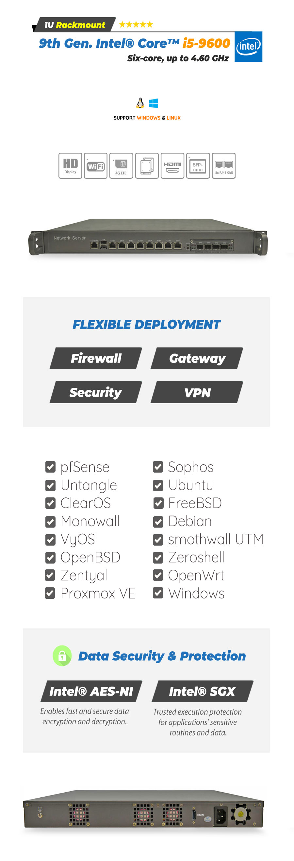 Intel® Core™ i5-9600 8 LAN 10Gig SFP+ 4G 1U Rackmount Server - NSHO-006 | Image