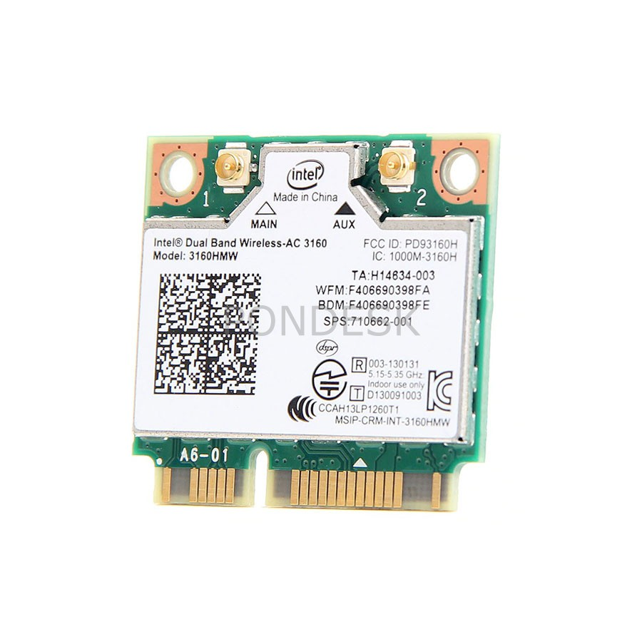 Intel® Dual Band Wireless-AC 3160 433mbps & Bluetooth 4.0