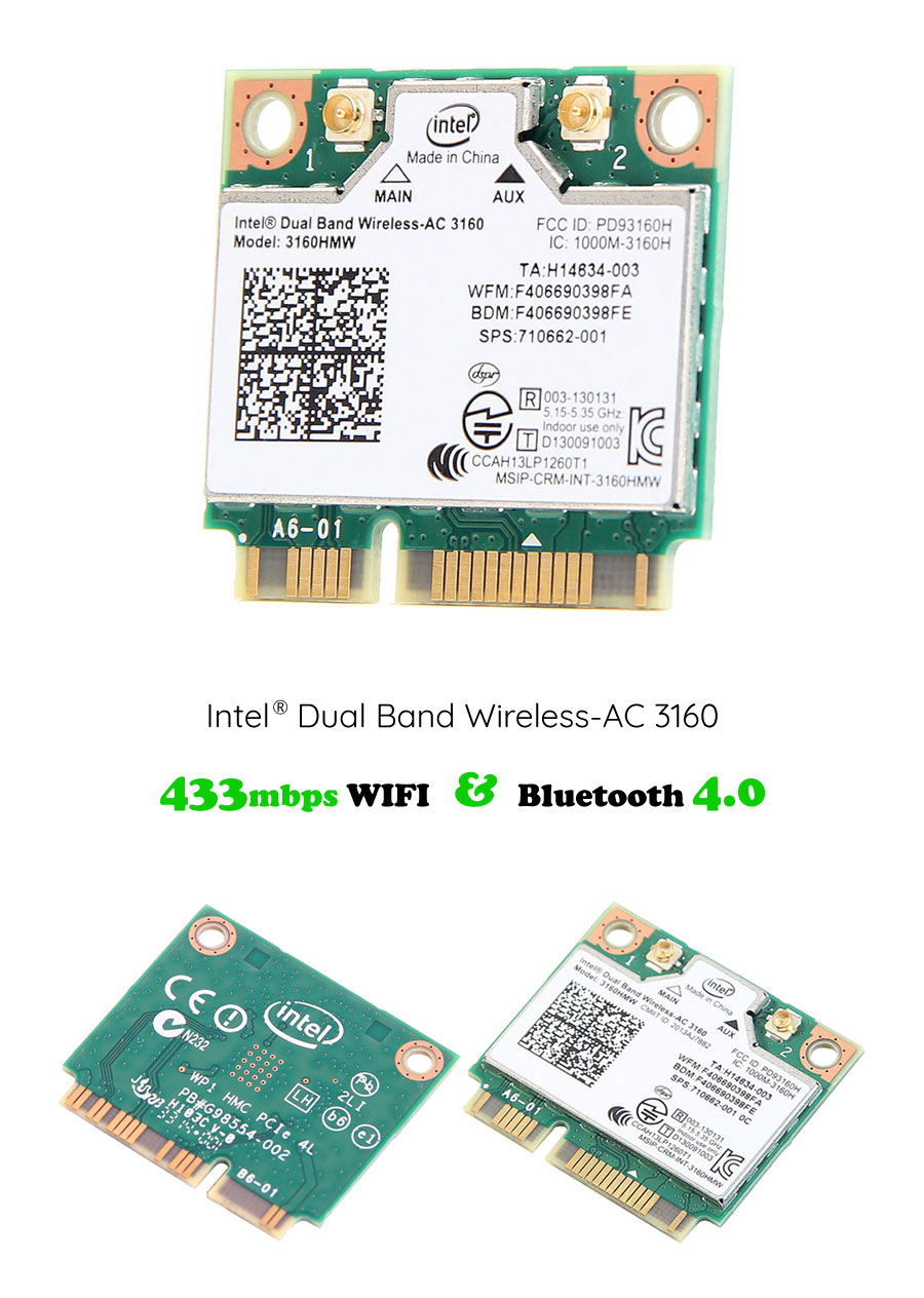 Intel® Dual Band Wireless-AC 3160 433mbps & Bluetooth 4.0 - NWEL-001 | Image