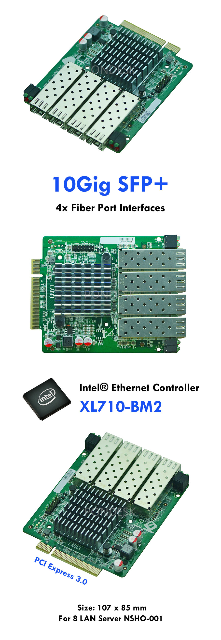 Intel XL710-BM2 PCIe x8 SFP+ 10Gig Fiber Port Interface Card - NWEL-021 | Image