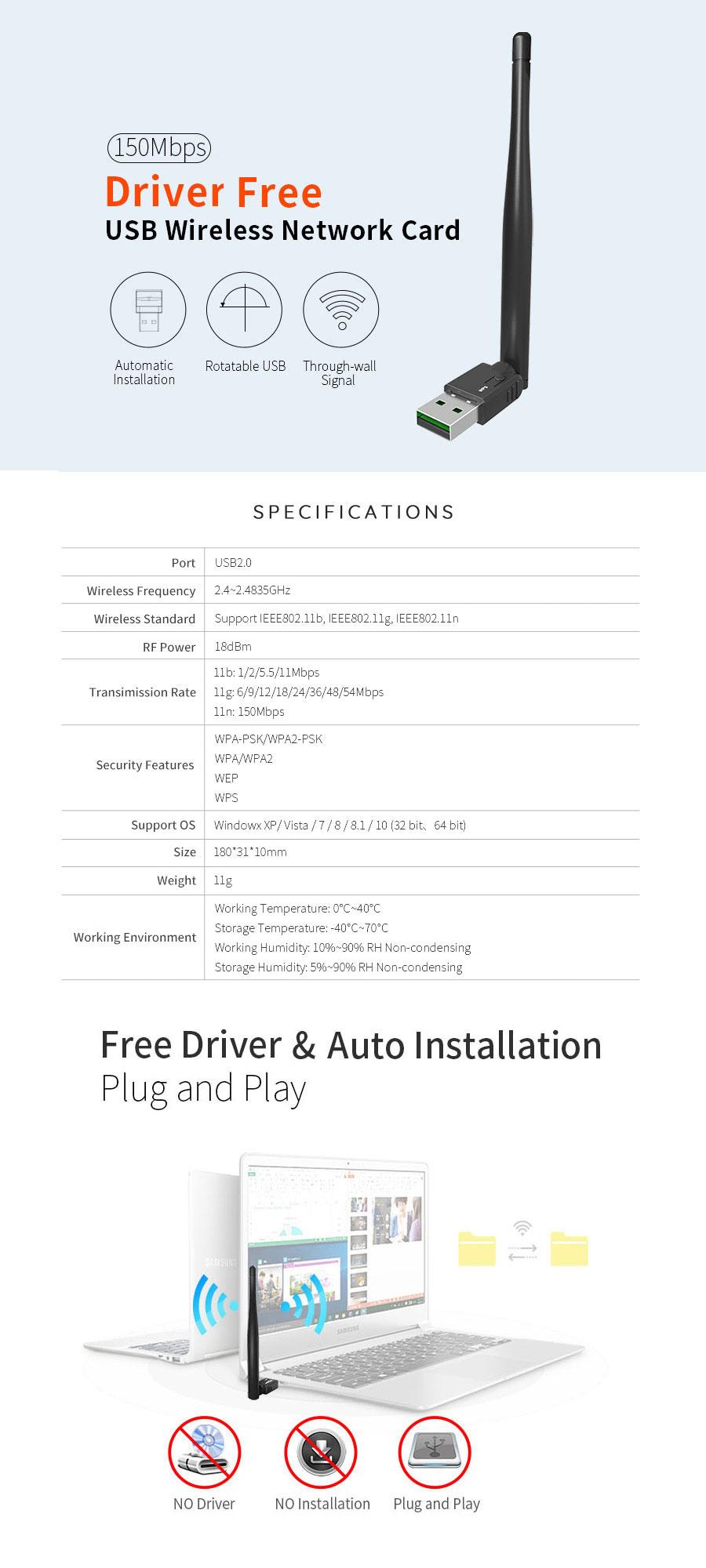 802.11 b/g/n 150Mbps 2.4GHz USB WiFi Wireless Adapter - NWEL-022 | Image