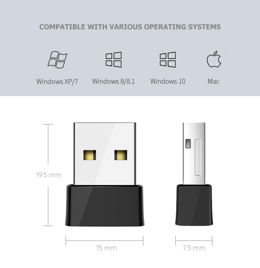 Dual-Band Mini USB AC WiFi Wireless Adapter up to 650Mbps - NWEL-029 | Image