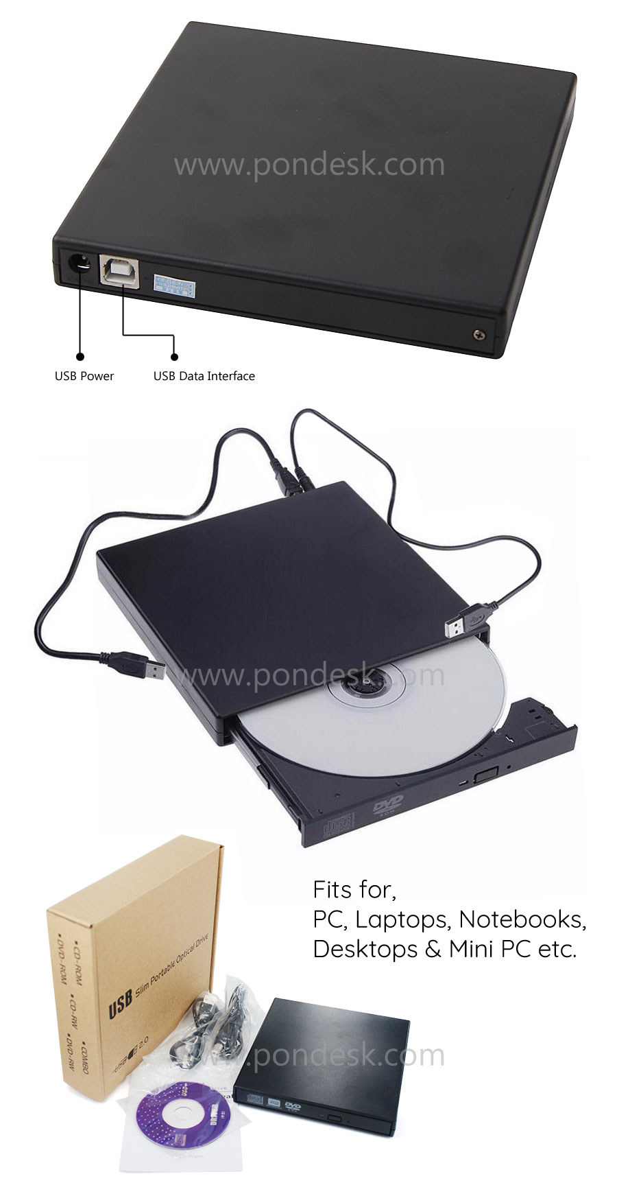 External Portable USB2.0 DVD Combo Player CD-RW Burner Drive - ODHO-001 | Image