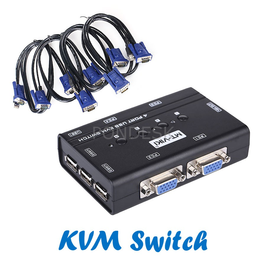 MT-460KL 4 Computers Manual VGA KVM Switch Box With Cables