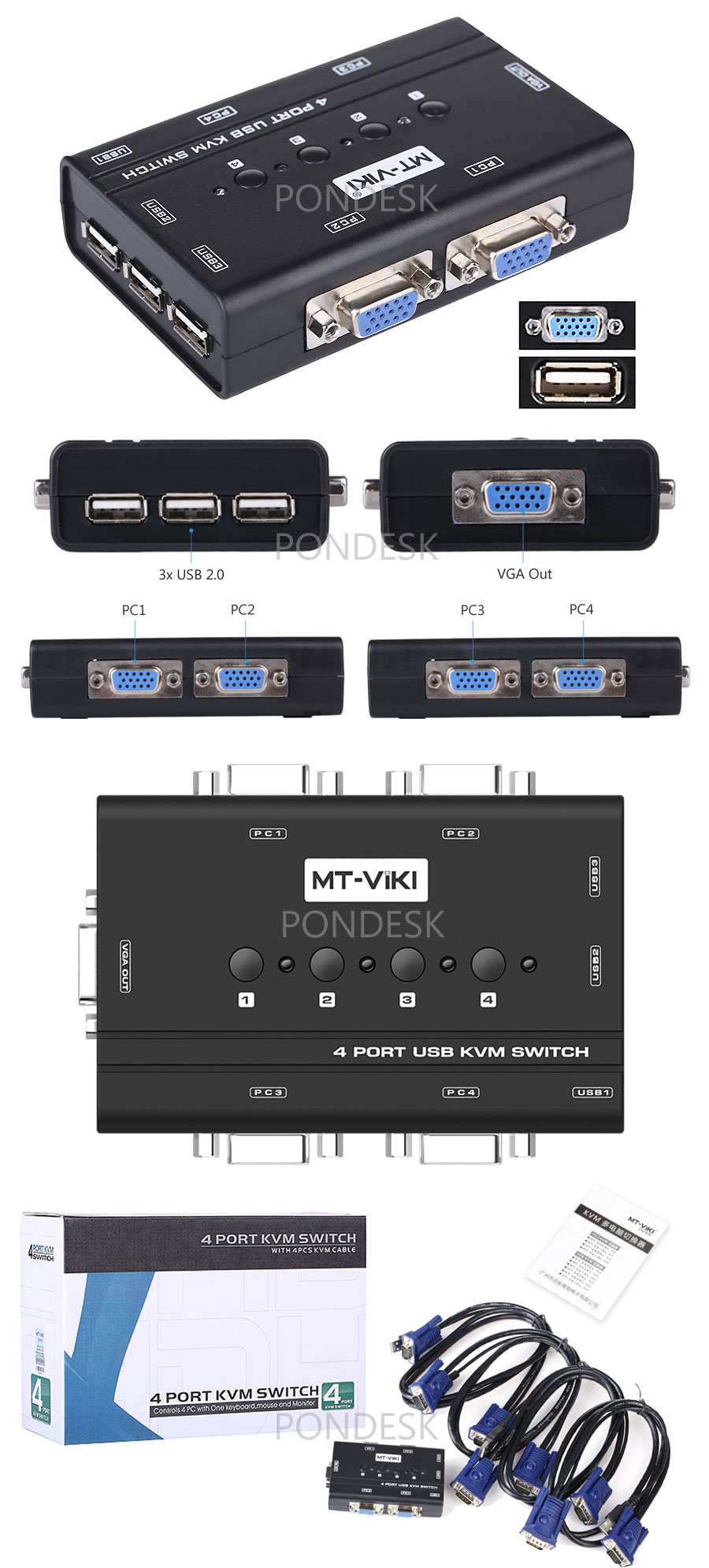 MT-460KL 4 Computers Manual VGA KVM Switch Box With Cables - ORHO-005 | Image