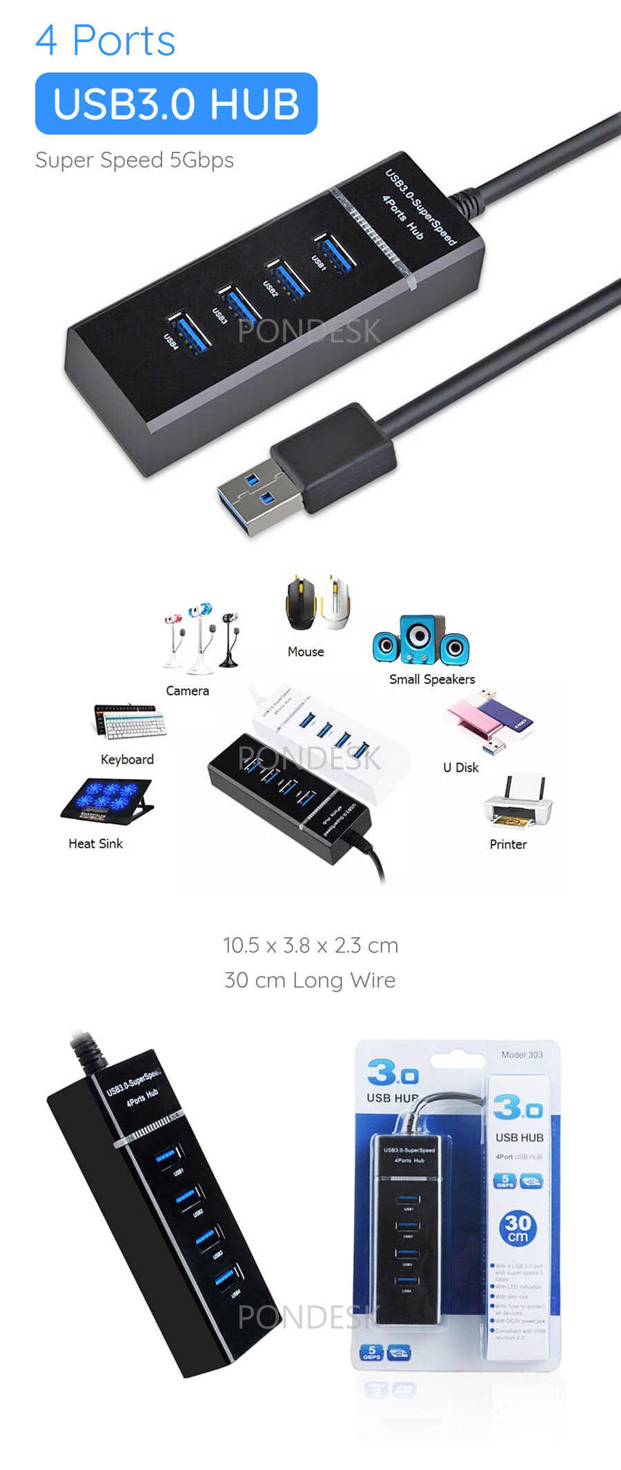 High Speed 5Gbps 4 Ports USB 3.0 HUB Splitter with Cable - ORHO-008   Image