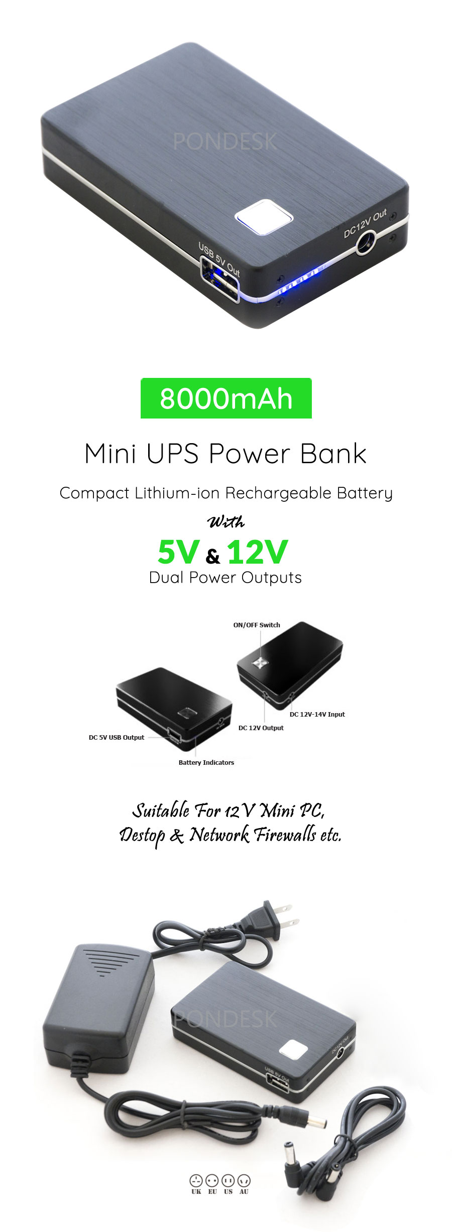 DC 12V 5V Compact Rechargeable 8000mAh Mini UPS Power Bank - PBEL-003 | Image