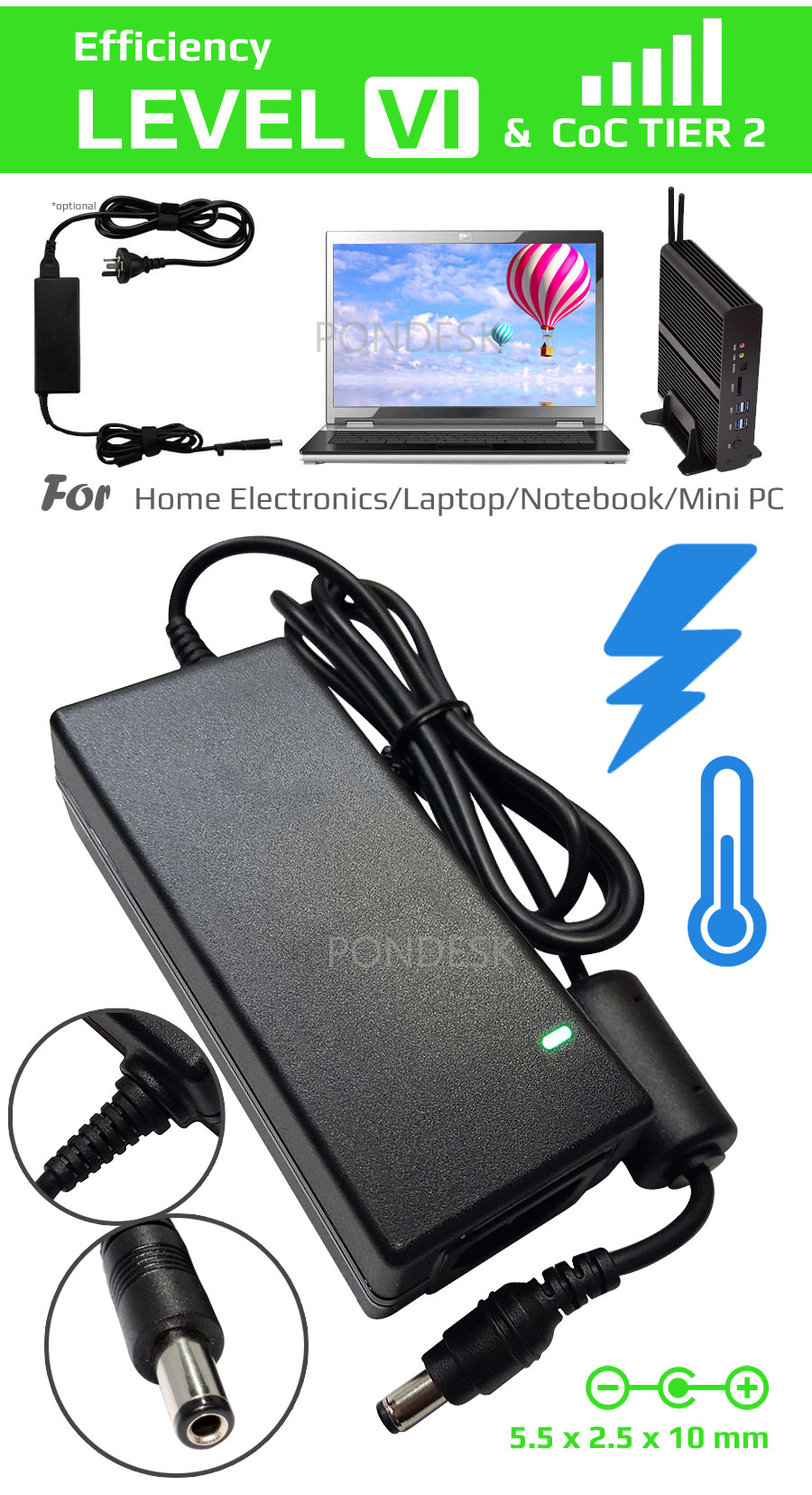 DOE Level VI 12V 5A 60W Switching Desktop AC Power Adapter - PSEL-006   Image