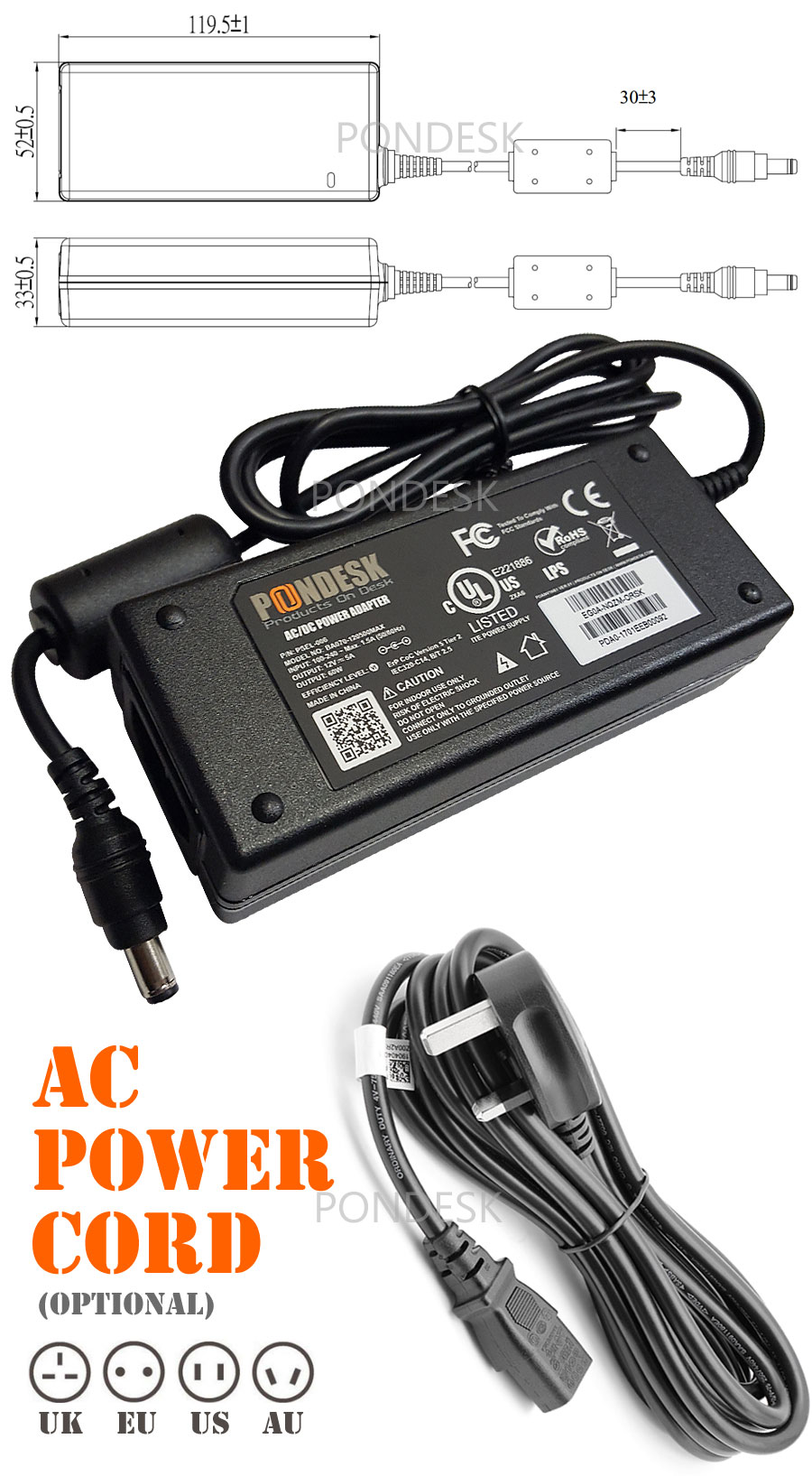 DOE Level VI 12V 5A 60W Switching Desktop AC Power Adapter - PSEL-006 | Image