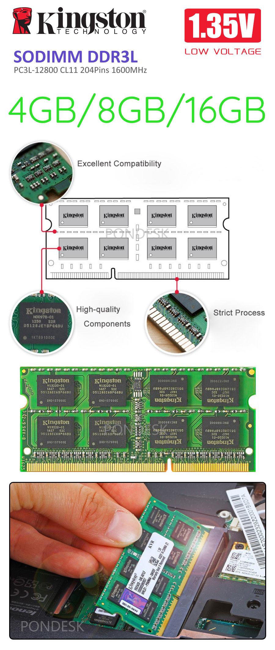 Kingston SODIMM DDR3L 1600MHz 1.35V PC3L 4GB/8GB/16GB Memory - RMHO-001   Image