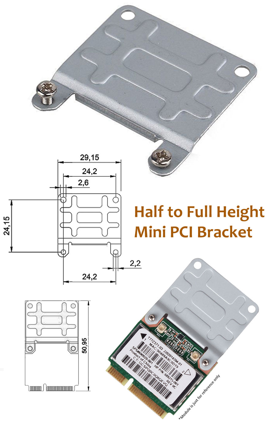 Half to Full Height Mini PCIe Extension Card Bracket Adapter - TPEL-001 | Image