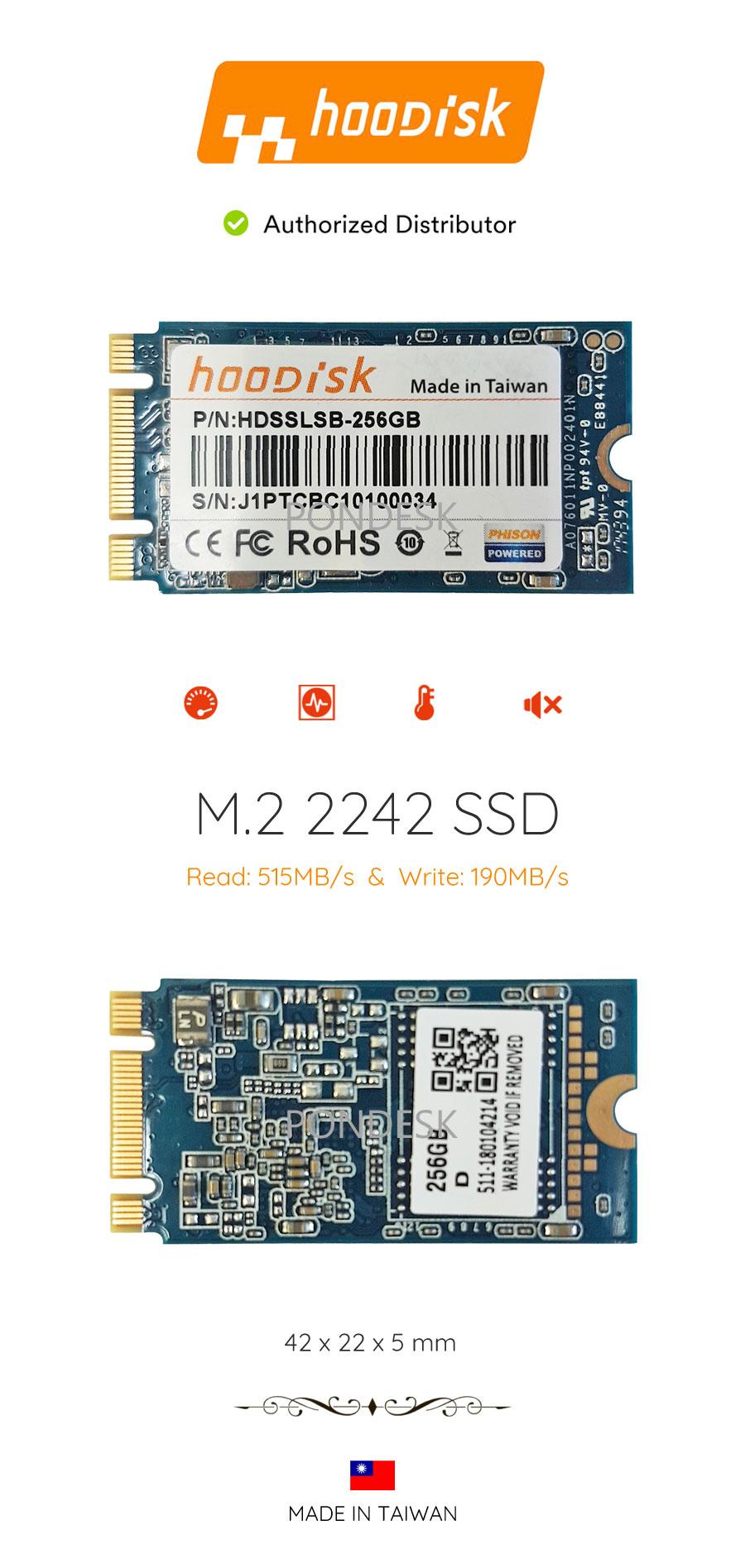 HooDisk 256GB M.2 SATA3 42mm SSD Storage Drive - UDHO-022 | Image
